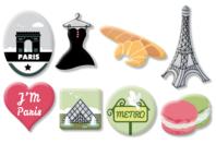 """Motifs """"Paris"""" en bois décoré - Set de 8 - Motifs peints - 10doigts.fr"""