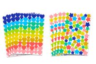Gommettes étoiles et cœurs multicolores - 8 planches - Coeurs autocollants - 10doigts.fr
