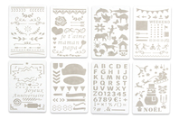 Pochoirs carterie 13 x 18 cm - 8 planches - Bullet Journal, Planner - 10doigts.fr