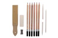 Kit dessin et esquisse - 12 pièces - Pastels et Fusains - 10doigts.fr