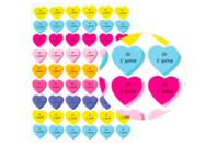 """Gommettes cœur """"Je t'aime"""" - 1 planche - Stickers, gommettes coeurs - 10doigts.fr"""