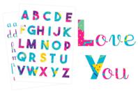 Stickers Alphabet coloré - 73 pièces - Gommettes Alphabet, messages - 10doigts.fr