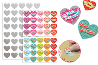 """Cœurs """"Message d'amour"""" à gratter - 40 stickers - Coeurs autocollants - 10doigts.fr"""