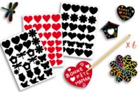 Stickers à gratter motifs assortis + 6 grattoirs - 82 stickers - Carte à gratter - 10doigts.fr