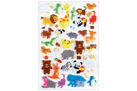 Stickers animaux 3D - 34 stickers - Décorations Animaux - 10doigts.fr