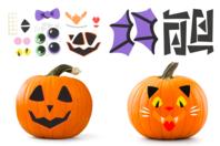 Stickers en caoutchouc mousse - Kit pour décorer 4 citrouilles - Halloween - 10doigts.fr