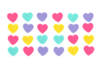 Stickers cœurs en feutrine - 24 coeurs - Formes en Feutrine Autocollante - 10doigts.fr