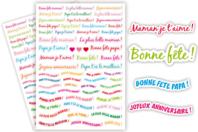 Gommettes Messages - 2 planches - Messages célébrations - 10doigts.fr
