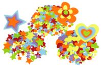 Stickers en feutrine, formes au choix - 150 stickers - Formes en Feutrine Autocollante - 10doigts.fr