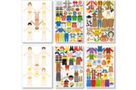 Stickers garçons à habiller - 6 planches - Gommettes Histoires et décors - 10doigts.fr