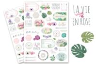 Stickers La vie en rose - 78 stickers - Décorations Fleurs - 10doigts.fr