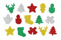 Stickers de Noël en caoutchouc pailleté - Set de 200 - Gommettes et stickers Noël - 10doigts.fr