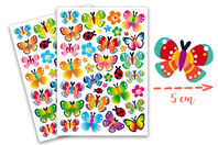 Gommettes papillons - 2 planches - Gommettes Animaux - 10doigts.fr