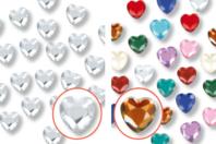 Minis strass cœurs adhésifs - 72 strass - Stickers strass, cabochons - 10doigts.fr