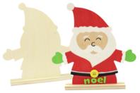 Père Noël en bois avec socle - Noël - 10doigts.fr