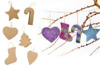 Ornements de Noël en carton - Set de 6 - Suspensions et boules de Noël - 10doigts.fr