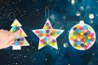 Suspensions de Noël et flocons de Maïs - 12 pièces - Suspensions et boules de Noël - 10doigts.fr