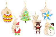 Suspensions de Noël en bois gravé - Set de 6 - Suspensions et boules de Noël - 10doigts.fr