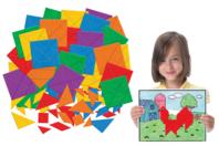 Formes en papier pour tangram - Set de 700 - Papiers couleurs - 10doigts.fr