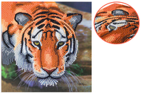 Broderie diamant Tigre - Carte 18 x 18 cm - Broderie Diamant - 10doigts.fr