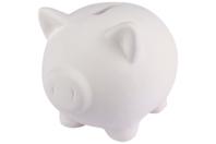 Tirelire cochon en terre cuite blanche - Supports en Céramique et Terre Cuite - 10doigts.fr