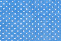 Coupon en coton imprimé : fond bleu + pois blancs - Coupons de tissus - 10doigts.fr