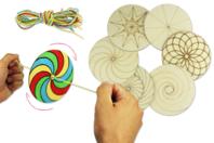 Toupies en bois à décorer - Set de 6 - Supports pré-dessinés - 10doigts.fr