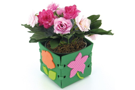 Cache pot fleuri - Feutrine, feutrage - 10doigts.fr