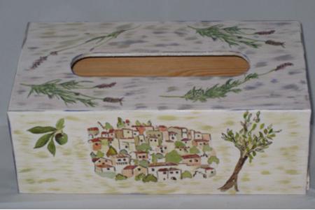 """boîte à mouchoirs """"provençale"""" - Vernis collage papiers, serviettes - 10doigts.fr"""