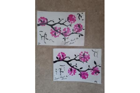 fleurs de cerisiers - Peinture - 10doigts.fr