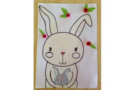 dessin maman lapin et son petit - Créations d'enfant - 10doigts.fr