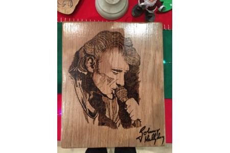 Tableau de Johnny Hallyday - Pyrogravure - 10doigts.fr