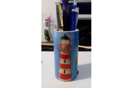 pot à stylos - Vernis collage papiers, serviettes - 10doigts.fr
