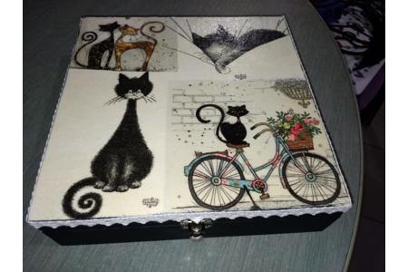 boîte à bijoux - Vernis collage papiers, serviettes - 10doigts.fr