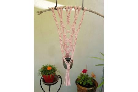Tenture & suspension murale en macramé pour petit pot en étain ou en cuivre - Divers - 10doigts.fr