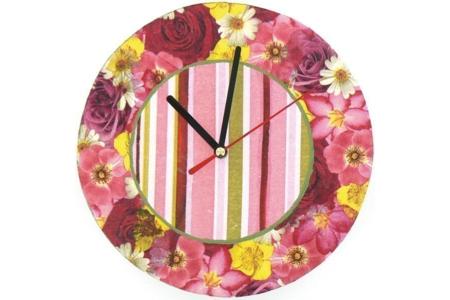 Horloge fleurie - Vernis collage papiers, serviettes - 10doigts.fr