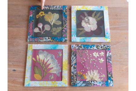 Dessous de plat en fleurs pressées - Vernis collage papiers, serviettes - 10doigts.fr