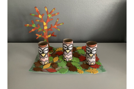 Les 3 hiboux arbres d automne - Déco du bois - 10doigts.fr