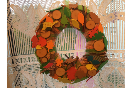 La couronne d'automne - Vernis collage papiers, serviettes - 10doigts.fr