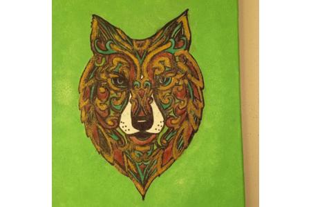 Réalisation d'un tableau avec l'aide de ma fille de 4 ans - Peinture - 10doigts.fr