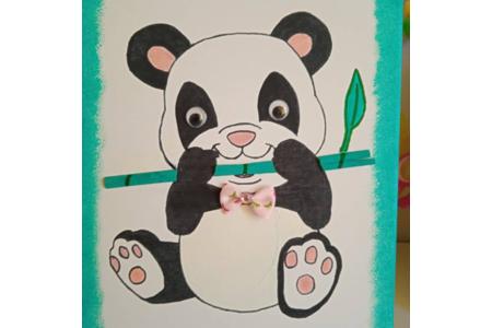 création d'un tableau pour ma fille de 4 ans qui adore les pandas - Peinture - 10doigts.fr