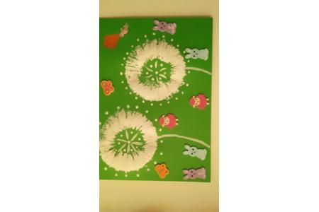 Peinture réaliser avec un rouleaux de papier toilette - Peinture - 10doigts.fr