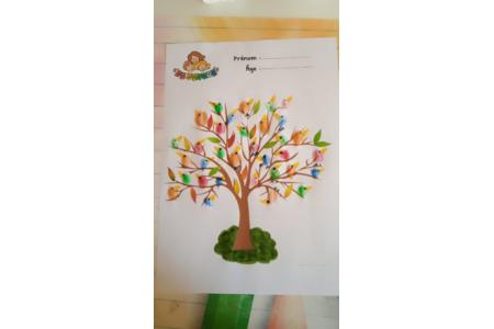 Création d'oiseaux sur un arbres avec l'empreinte des doigts de ma fille - Peinture - 10doigts.fr