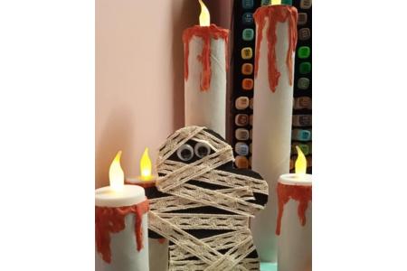 Réalisation de momie est de bougies avec du rouleau papier toilettes et essuie tout - Divers - 10doigts.fr