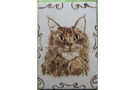 mon chat en carte de voeux - Pyrogravure - 10doigts.fr