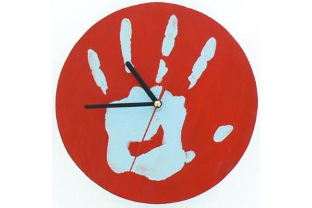 Horloge avec mon empreinte - Déco du bois - 10doigts.fr