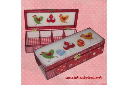"""Boîte à thé """"poulettes aux petits pois"""" rouge - Déco du bois - 10doigts.fr"""