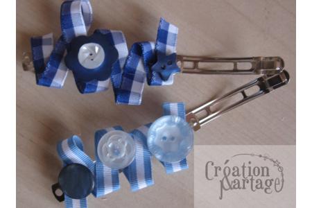Barrettes bleues - Perles, bracelets, colliers - 10doigts.fr