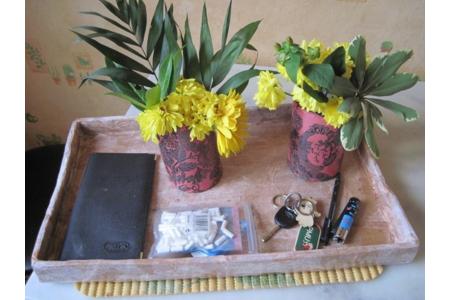 plateau en carton pour monsieur et vases de mandrin avec morceaux - Divers - 10doigts.fr
