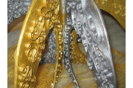 candelabre en carton or et argent - Quilling - 10doigts.fr